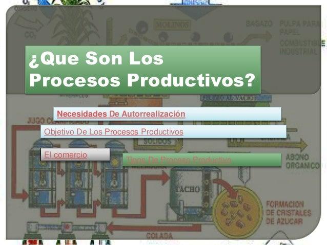 ¿Que Son Los Procesos Productivos? Necesidades De Autorrealización Objetivo De Los Procesos Productivos El comercio Tipos ...