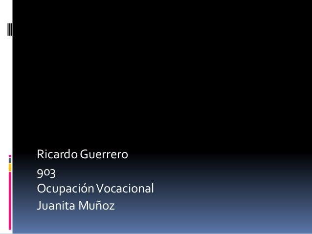 Ricardo Guerrero 903 OcupaciónVocacional Juanita Muñoz