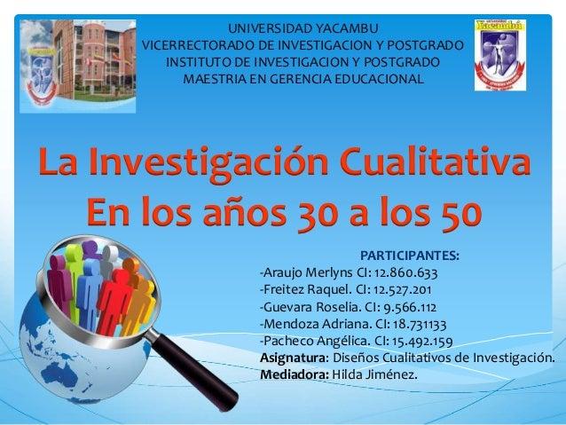 UNIVERSIDAD YACAMBU VICERRECTORADO DE INVESTIGACION Y POSTGRADO INSTITUTO DE INVESTIGACION Y POSTGRADO MAESTRIA EN GERENCI...