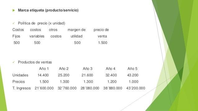 Marca etiqueta (producto/servicio)  Política de precio (x unidad) Costos costos otros margen de precio de Fijos variabl...