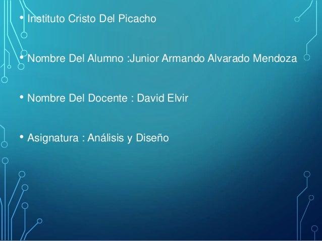 • Instituto Cristo Del Picacho • Nombre Del Alumno :Junior Armando Alvarado Mendoza • Nombre Del Docente : David Elvir • A...