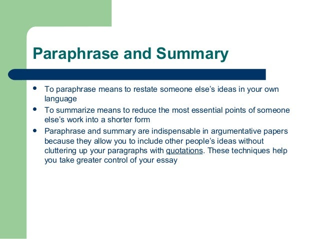 paraphrasing exercise essay Exercise 4 paraphrasing read this paragraph by miller (2014) and decide which of these paraphrases of smaller sections are acceptable (paraphrases 1-3 below.