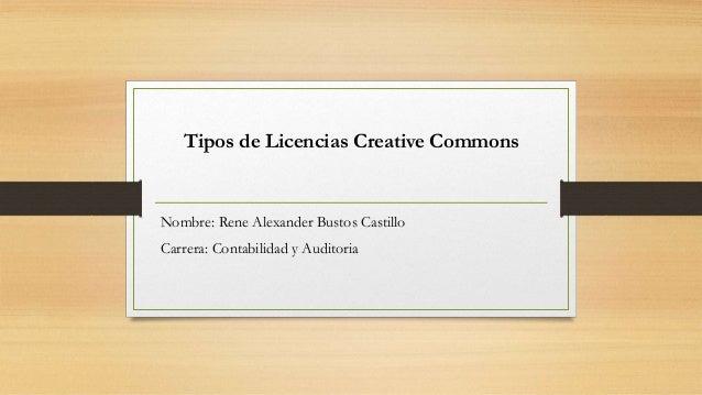 Nombre: Rene Alexander Bustos Castillo Carrera: Contabilidad y Auditoria Tipos de Licencias Creative Commons