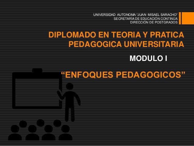 "DIPLOMADO EN TEORIA Y PRATICA PEDAGOGICA UNIVERSITARIA MODULO I ""ENFOQUES PEDAGOGICOS"" UNIVERSIDAD AUTONOMA ""JUAN MISAEL S..."
