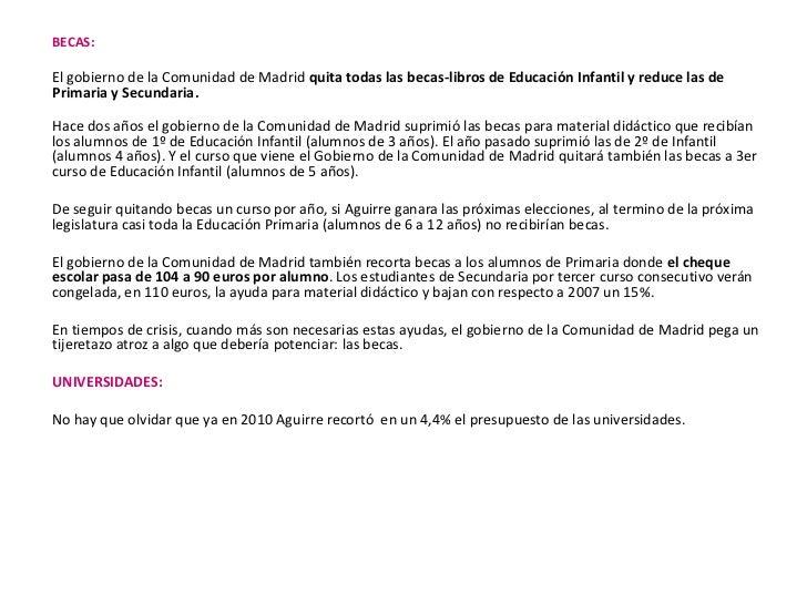 BECAS:<br /><br />El gobierno de la Comunidad de Madrid quita todas las becas-libros de Educación Infantil y reduce las d...