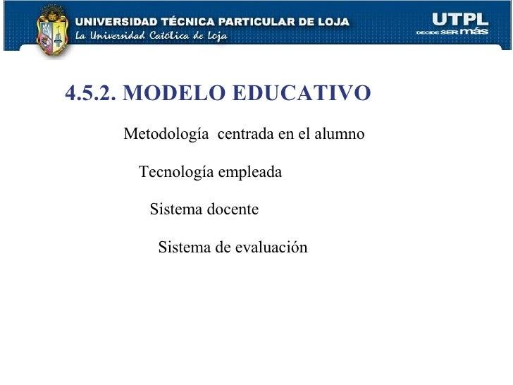 4.5.2. MODELO EDUCATIVO Metodología  centrada en el alumno   Tecnología empleada   Sistema docente   Sistema de evaluación