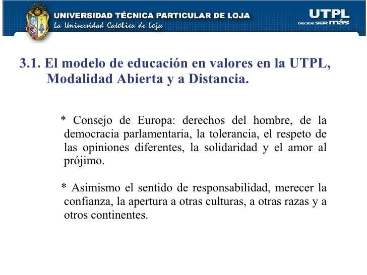 3.1. El modelo de educación en valores en la UTPL, Modalidad Abierta y a Distancia. * Consejo de Europa: derechos del homb...