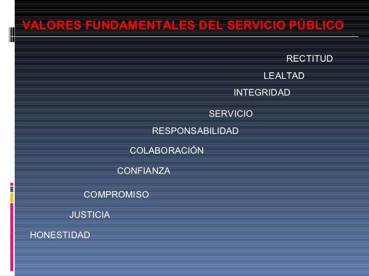 VALORES FUNDAMENTALES DEL SERVICIO PÚBLICO RECTITUD LEALTAD INTEGRIDAD SERVICIO COLABORACIÓN RESPONSABILIDAD CONFIANZA COM...