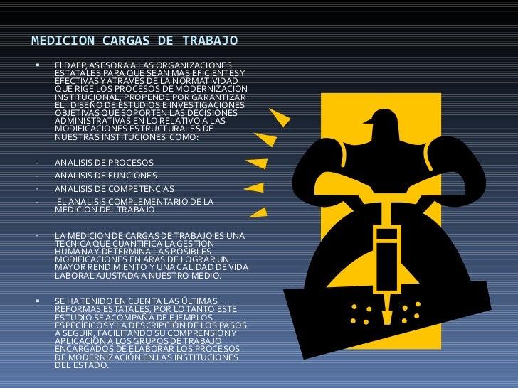 MEDICION CARGAS DE TRABAJO <ul><li>El DAFP, ASESORA A LAS ORGANIZACIONES ESTATALES PARA QUE SEAN MAS EFICIENTES Y EFECTIVA...