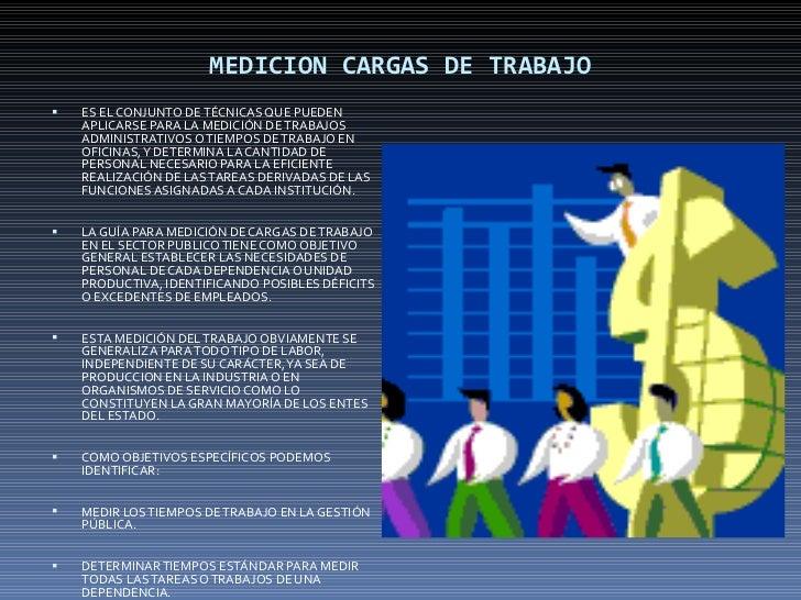 MEDICION CARGAS DE TRABAJO <ul><li>ES EL CONJUNTO DE TÉCNICAS QUE PUEDEN APLICARSE PARA LA MEDICIÓN DE TRABAJOS ADMINISTRA...