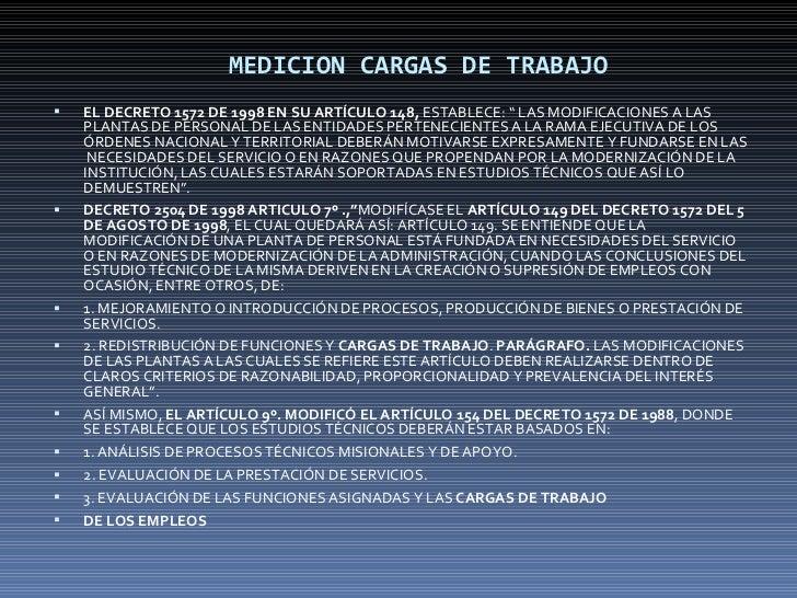 """MEDICION CARGAS DE TRABAJO <ul><li>EL DECRETO 1572 DE 1998 EN SU ARTÍCULO 148,  ESTABLECE: """" LAS MODIFICACIONES A LAS PLAN..."""