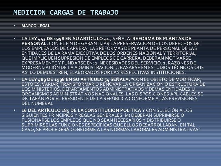 MEDICION CARGAS DE TRABAJO <ul><li>MARCO LEGAL </li></ul><ul><li>LA LEY 443 DE 1998 EN SU ARTÍCULO 41 ., SEÑALA:  REFORMA ...