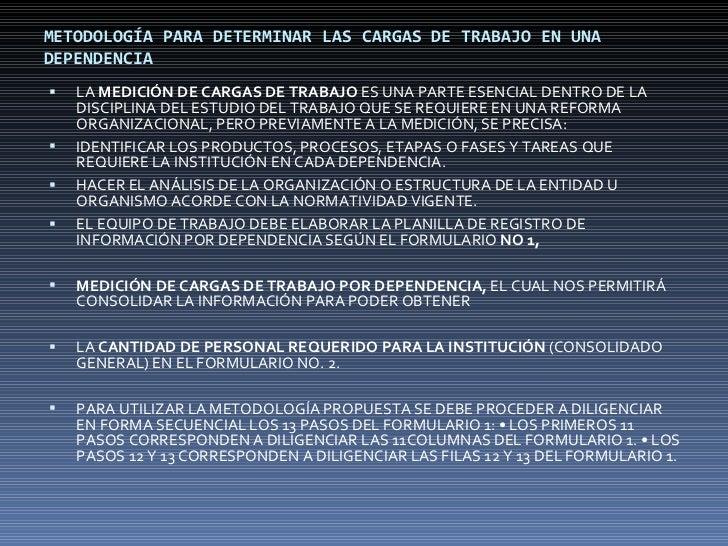 METODOLOGÍA PARA DETERMINAR LAS CARGAS DE TRABAJO EN UNA DEPENDENCIA <ul><li>LA  MEDICIÓN DE CARGAS DE TRABAJO  ES UNA PAR...