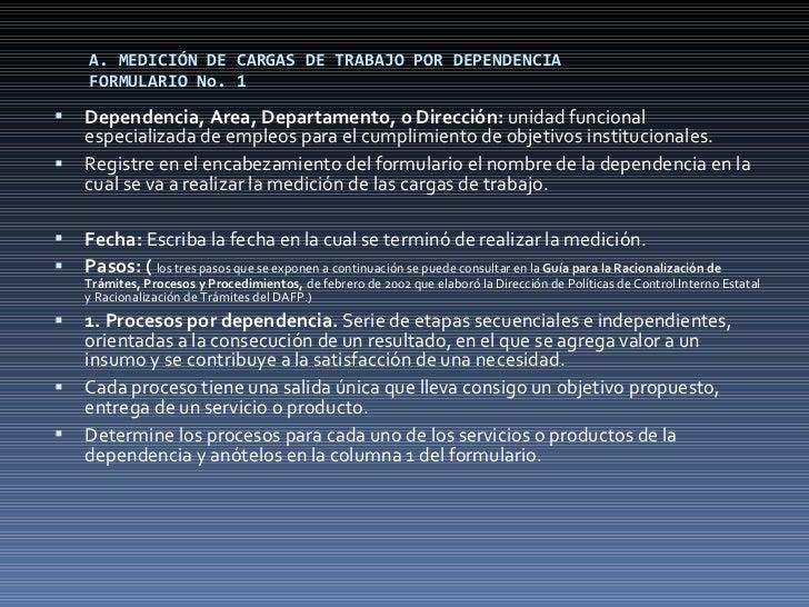 A. MEDICIÓN DE CARGAS DE TRABAJO POR DEPENDENCIA FORMULARIO No. 1 <ul><li>Dependencia, Area, Departamento, o Dirección:  u...