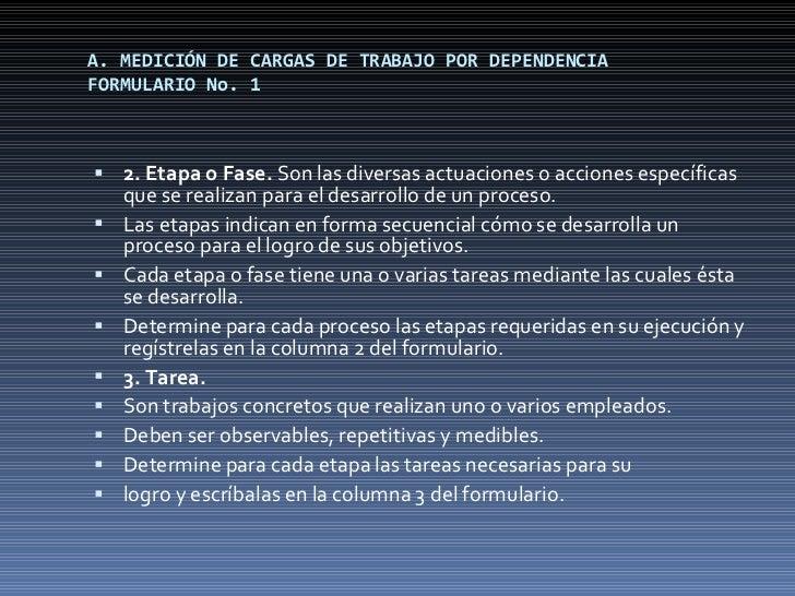 A. MEDICIÓN DE CARGAS DE TRABAJO POR DEPENDENCIA FORMULARIO No. 1 <ul><li>2. Etapa o Fase.  Son las diversas actuaciones o...