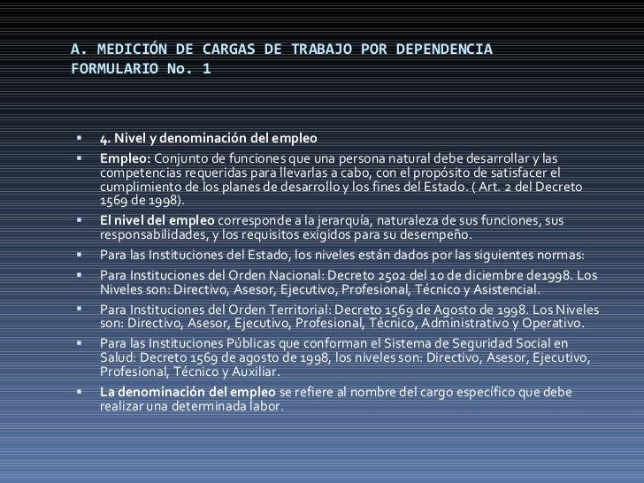 A. MEDICIÓN DE CARGAS DE TRABAJO POR DEPENDENCIA FORMULARIO No. 1 <ul><li>4. Nivel y denominación del empleo </li></ul><ul...