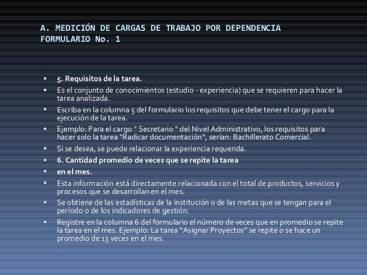 A. MEDICIÓN DE CARGAS DE TRABAJO POR DEPENDENCIA FORMULARIO No. 1 <ul><li>5. Requisitos de la tarea. </li></ul><ul><li>Es ...