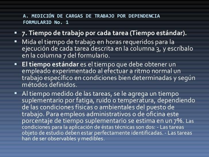 A. MEDICIÓN DE CARGAS DE TRABAJO POR DEPENDENCIA FORMULARIO No. 1 <ul><li>7. Tiempo de trabajo por cada tarea (Tiempo está...
