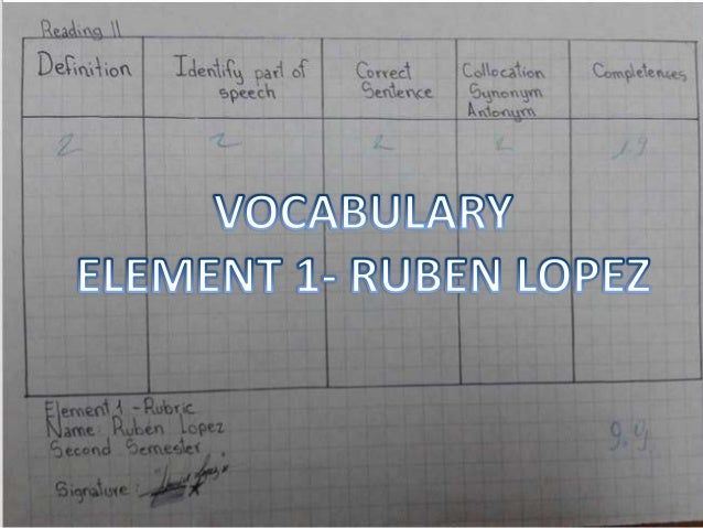 LOPEZ ESTRELLA RUBEN- ELEMENT 1 VOCABULARY-READING II