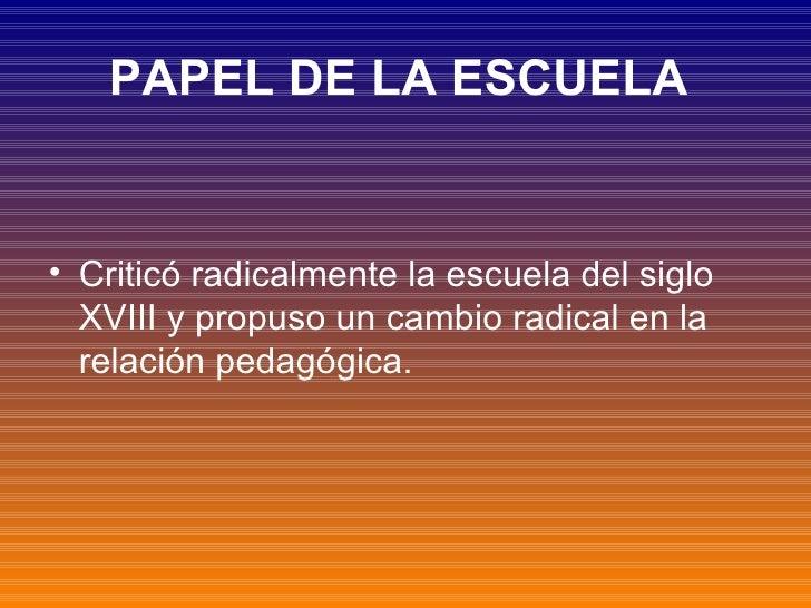 PAPEL DE LA ESCUELA   <ul><li>Criticó radicalmente la escuela del siglo XVIII y propuso un cambio radical en la relación p...