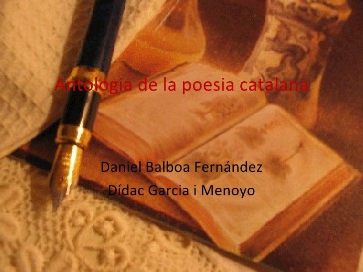 Antologia de la poesia catalana Daniel Balboa Fernández Dídac Garcia i Menoyo