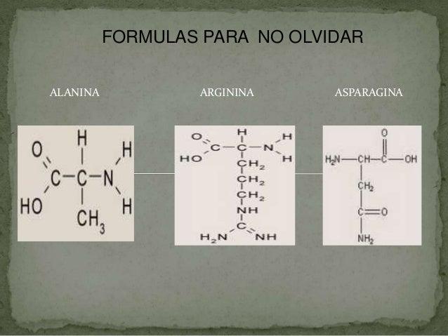 FORMULAS PARA NO OLVIDAR ALANINA  ARGININA  ASPARAGINA