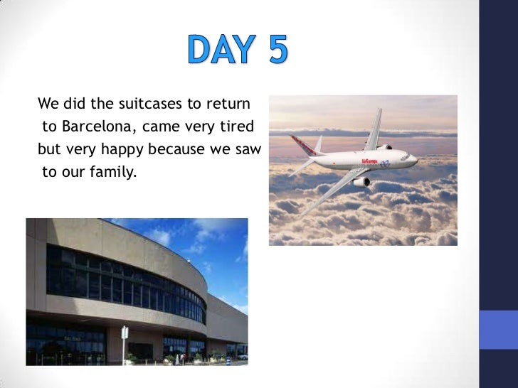 We did the suitcases to return<br />to Barcelona, came very tired <br />but very happy because we saw<br />to our family.<...