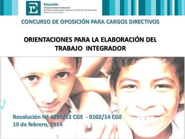 CONCURSO DE OPOSICIÓN PARA CARGOS DIRECTIVOS  ORIENTACIONES PARA LA ELABORACIÓN DEL TRABAJO INTEGRADOR  Resolución Nº 4250...