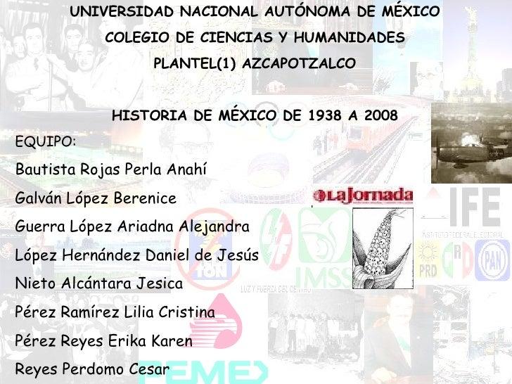 UNIVERSIDAD NACIONAL AUTÓNOMA DE MÉXICO COLEGIO DE CIENCIAS Y HUMANIDADES PLANTEL(1) AZCAPOTZALCO HISTORIA DE MÉXICO DE 19...