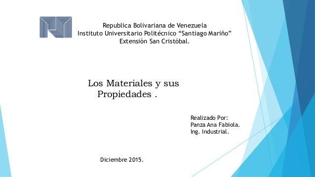 """Republica Bolivariana de Venezuela Instituto Universitario Politécnico """"Santiago Mariño"""" Extensión San Cristóbal. Los Mate..."""