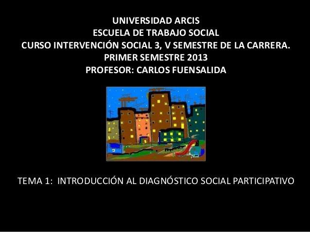UNIVERSIDAD ARCIS             ESCUELA DE TRABAJO SOCIALCURSO INTERVENCIÓN SOCIAL 3, V SEMESTRE DE LA CARRERA.             ...