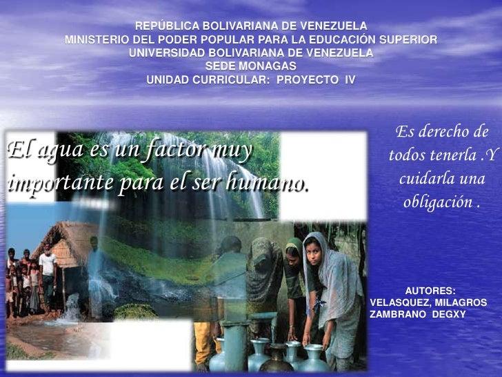 REPÚBLICA BOLIVARIANA DE VENEZUELA<br />MINISTERIO DEL PODER POPULAR PARA LA EDUCACIÓN SUPERIOR<br />UNIVERSIDAD BOLIVARIA...