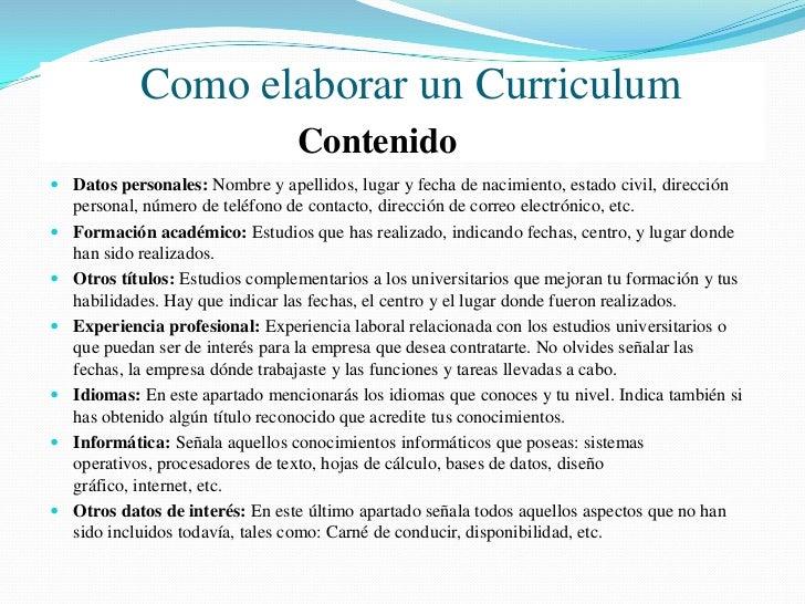 """Como elaborar un Curriculum                                    Evitar No escribas el título """"Currículum Vitae"""" en la part..."""