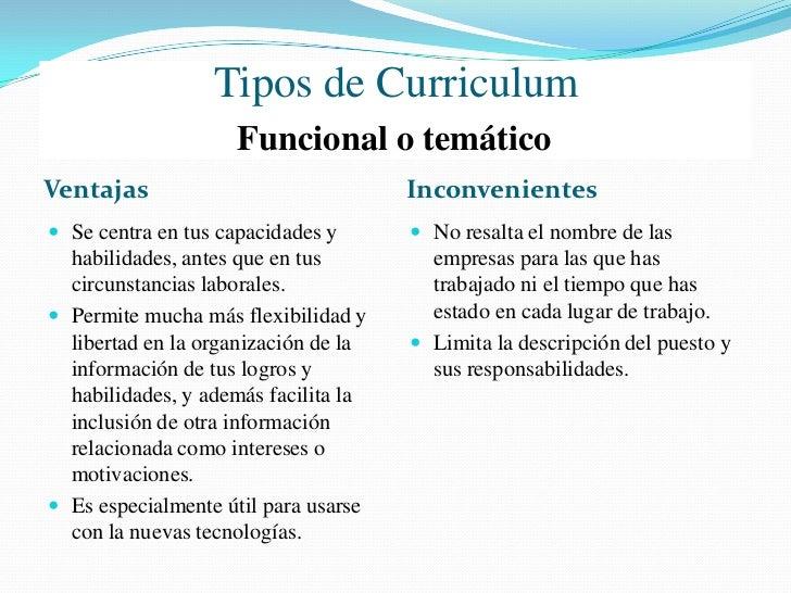 Tipos de Curriculum                     Combinado o mixtoVentajas                                Inconvenientes Destaca d...