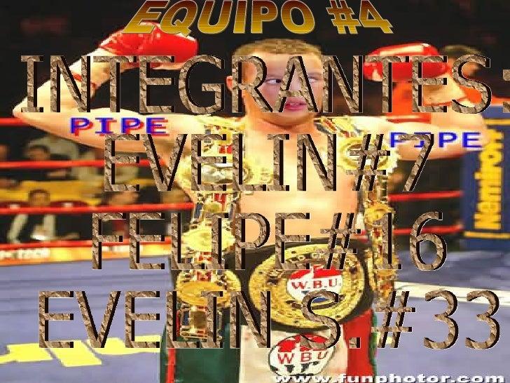 EQUIPO #4 INTEGRANTES: EVELIN#7 FELIPE#16 EVELIN S.#33