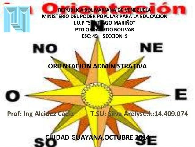"REPUBLICA BOLIVARIANA DE VENEZUELA  MINISTERIO DEL PODER POPULAR PARA LA EDUCACION  I.U.P ""SANTIAGO MARIÑO""  PTO ORDAZ-EDO..."