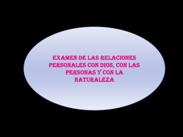 EXAMEN DE LAS RELACIONES PERSONALES CON DIOS, CON LAS PERSONAS Y CON LA NATURALEZA<br />