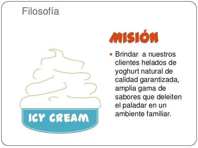 Filosofía             Misión              Brindar a nuestros              clientes helados de              yoghurt natura...
