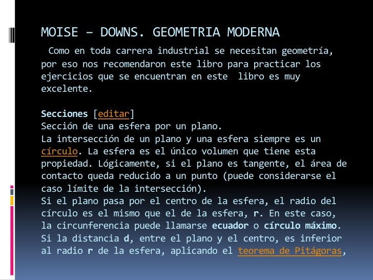 MOISE – DOWNS. GEOMETRIA MODERNAComo en toda carrera industrial se necesitan geometría, por eso nos recomendaron este libr...