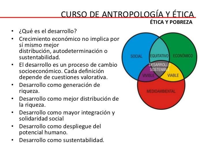 CURSO DE ANTROPOLOGÍA Y ÉTICA                                          ÉTICA Y POBREZA• ¿Qué es el desarrollo?• Crecimient...