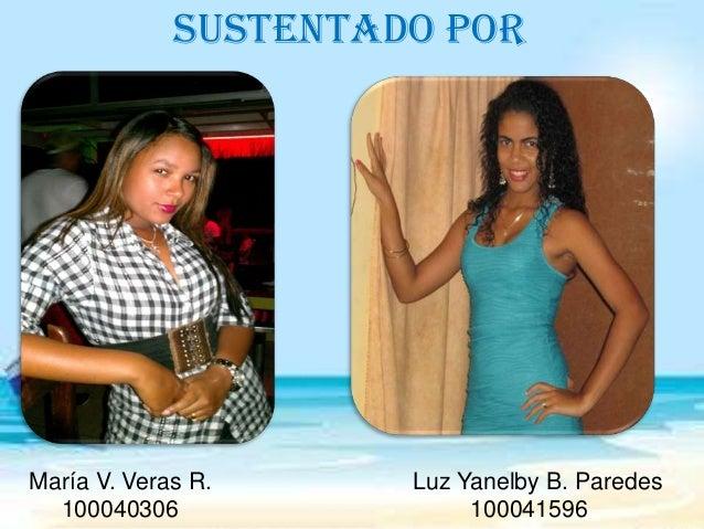 SUSTENTADO POR  María V. Veras R. 100040306  Luz Yanelby B. Paredes 100041596