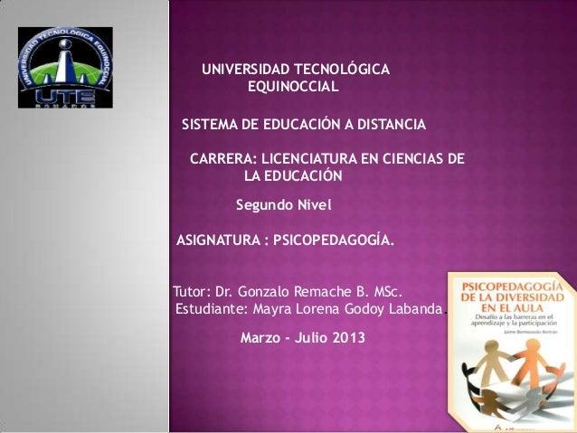 UNIVERSIDAD TECNOLÓGICA          EQUINOCCIAL SISTEMA DE EDUCACIÓN A DISTANCIA  CARRERA: LICENCIATURA EN CIENCIAS DE       ...