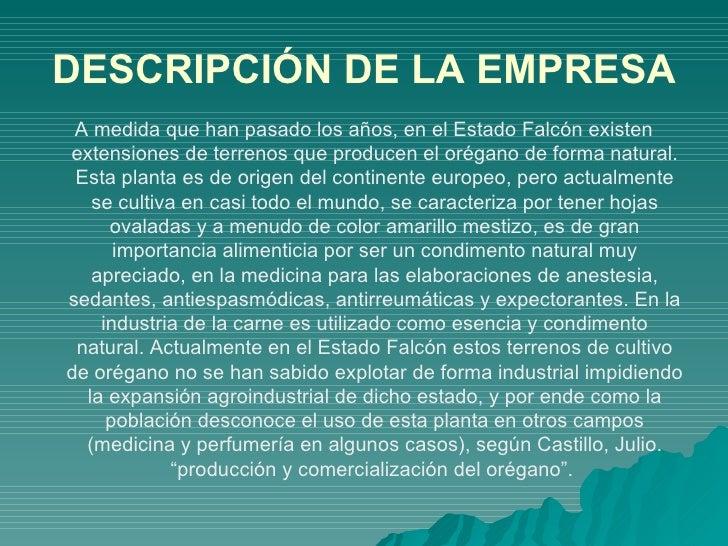 EL OREGANAL C.A Slide 2