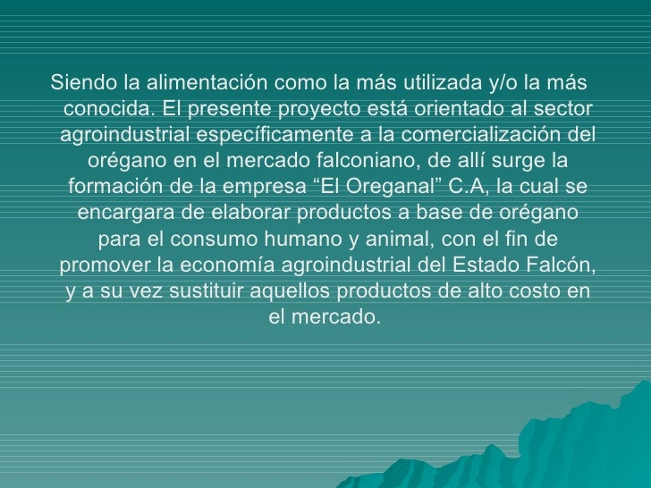 EL OREGANAL C.A Slide 3