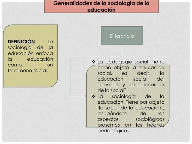 DiferenciaGeneralidades de la sociología de laeducaciónDEFINICIÓN. Lasociología de laeducación enfocala educacióncomo unfe...