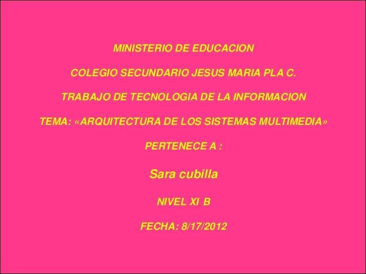 MINISTERIO DE EDUCACION     COLEGIO SECUNDARIO JESUS MARIA PLA C.   TRABAJO DE TECNOLOGIA DE LA INFORMACIONTEMA: «ARQUITEC...