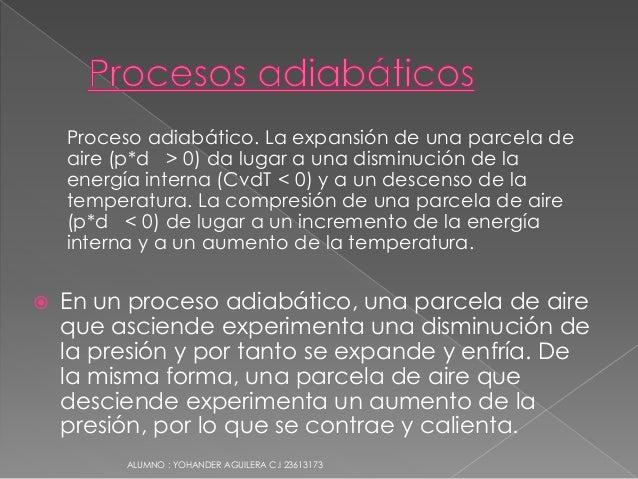 Proceso adiabático. La expansión de una parcela de aire (p*d > 0) da lugar a una disminución de la energía interna (CvdT <...