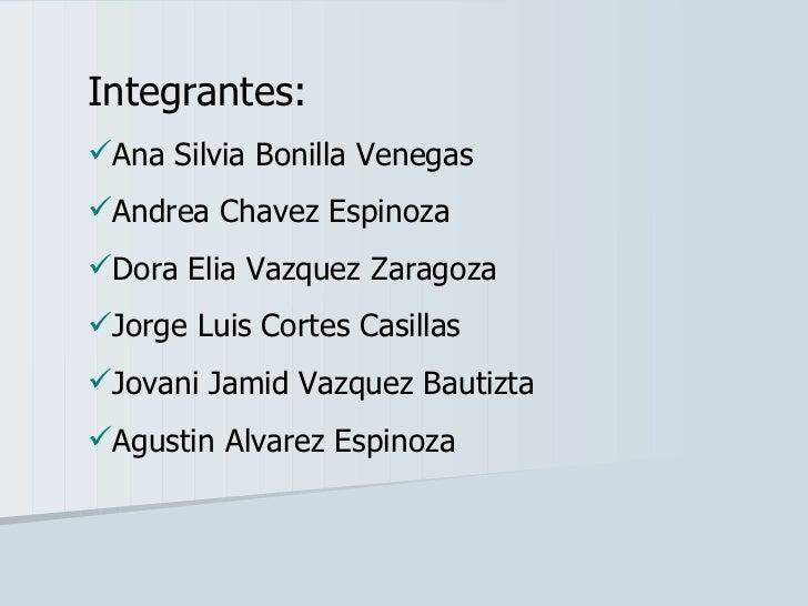<ul><li>Integrantes: </li></ul><ul><li>Ana Silvia Bonilla Venegas </li></ul><ul><li>Andrea Chavez Espinoza </li></ul><ul><...