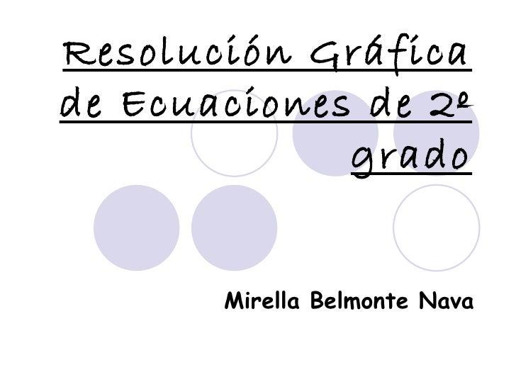 Resolución Gráfica de Ecuaciones de 2º grado Mirella Belmonte Nava