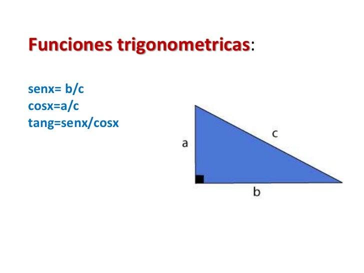 Funciones trigonometricas: senx= b/c    cosx=a/ctang=senx/cosx<br />